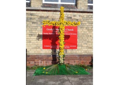 Easter display of daffodils at the Methodist Church